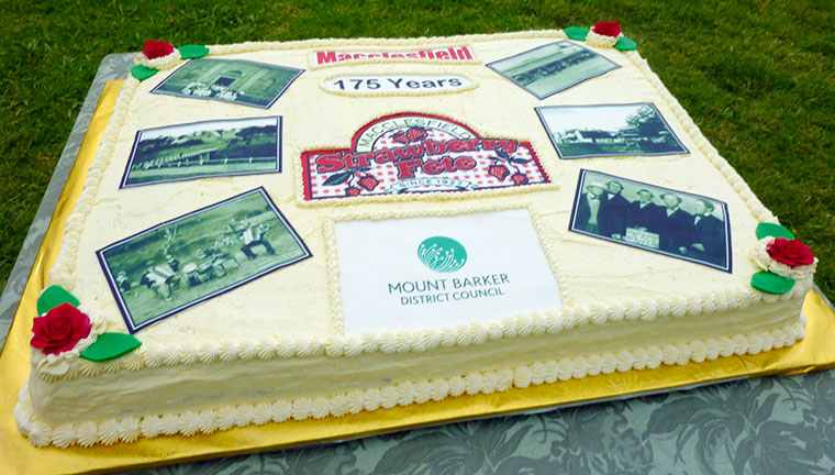 Closeup of the 175th Cake baked by Nancy Bradbury