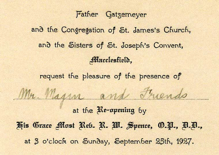"Invitation to ""Mr Magin and Friends"" to the 1927 Diamond Jubilee"