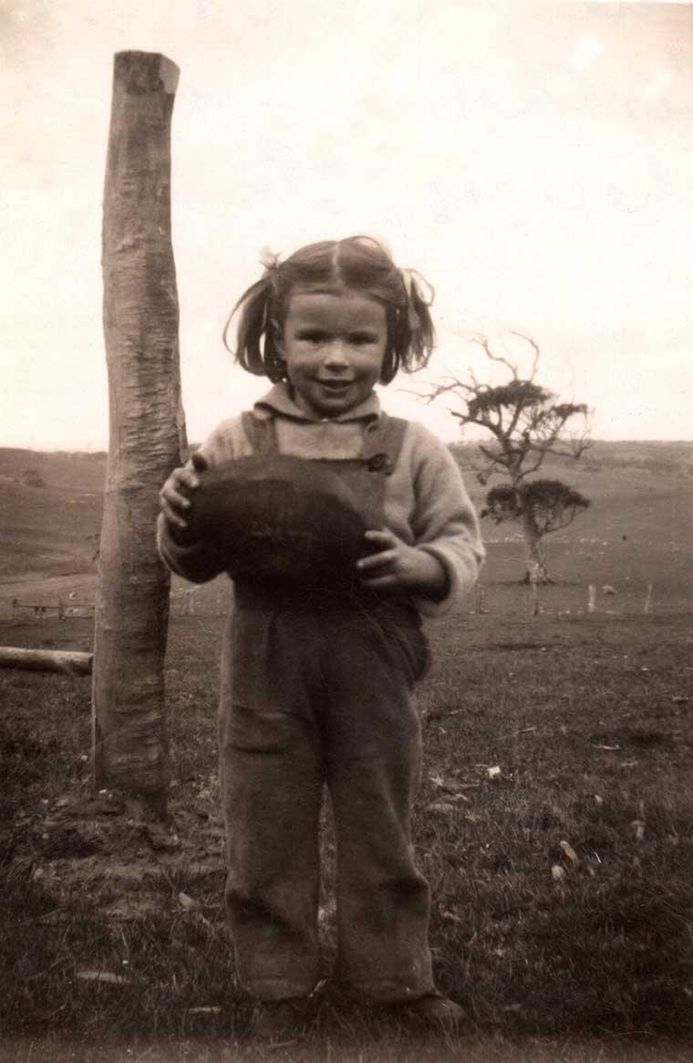 Sue HUPPATZ on her 3rd birthday, with her football